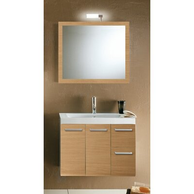 Linear 30 Single Wall Mounted Bathroom Vanity Set with Mirror Base Finish: Natural Oak