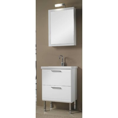 Luna 23 Single Bathroom Vanity Set with Mirror Base Finish: Wenge