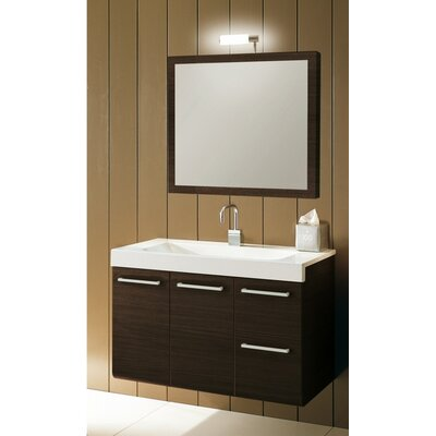 Linear 38 Single Wall Mounted Bathroom Vanity Set with Mirror Base Finish: Wenge