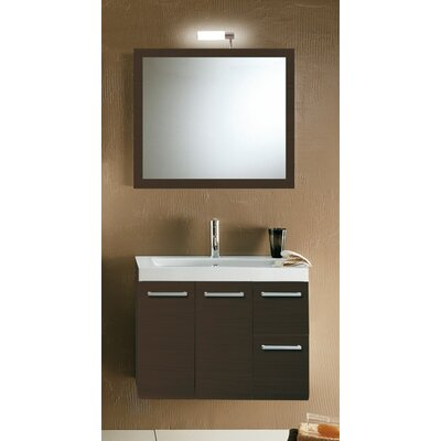 Linear 30 Single Wall Mounted Bathroom Vanity Set with Mirror Base Finish: Wenge