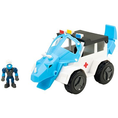 Dino Construction Company Rescue Crew Turbo The Triceratops Police Suv e4162