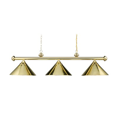 Walt 3-Light Billiard Light Finish: Polished Brass