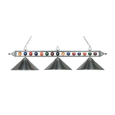 Huguenot 3-Light Billiard Light Finish: Satin Nickel with Metal Shades
