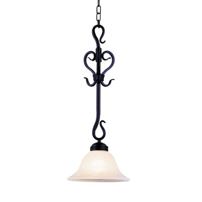 Buckingham 1-Light Mini Pendant Finish: Matte Black with White Glass
