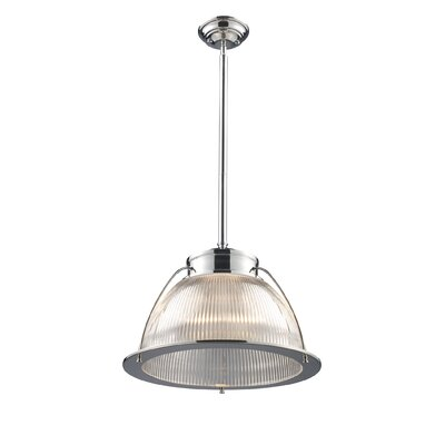 Halophane 1-Light Inverted Pendant Finish: Polished Chrome with Ribbed Glass