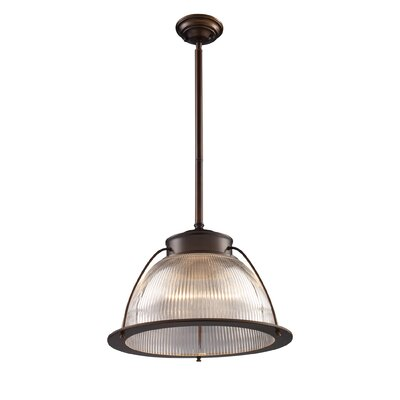 Halophane 1-Light Inverted Pendant Finish: Aged Bronze with Ribbed Glass