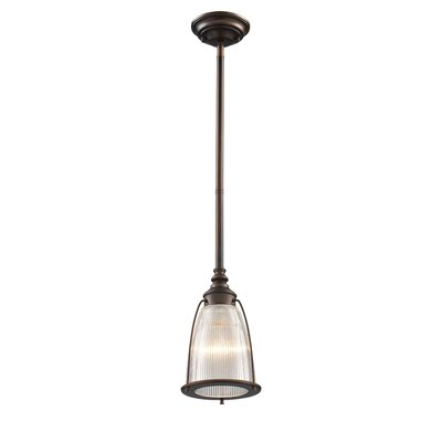 Streff 1-Light Mini Pendant Finish: Aged Bronze with Ribbed Glass