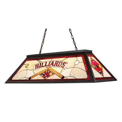 Swarthout 3-Light Billiard Light Finish: Tiffany Bronze Metal, Shade Type: Floral