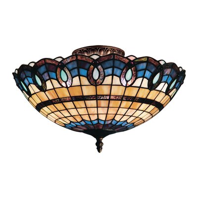 Victorian Ribbon 3-Light Semi-Flush Mount