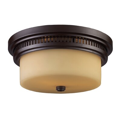 Haffey 2-Light Flush Mount Finish: Oiled Bronze