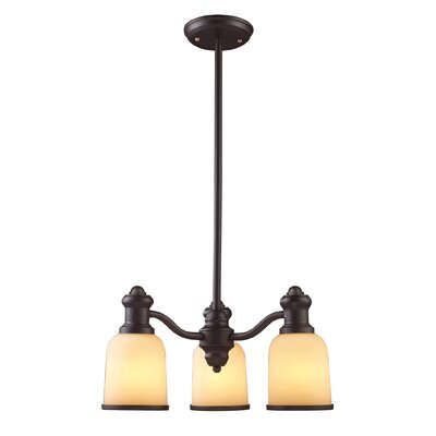 Boornazian 3-Light Oiled Bronze Shaded Chandelier