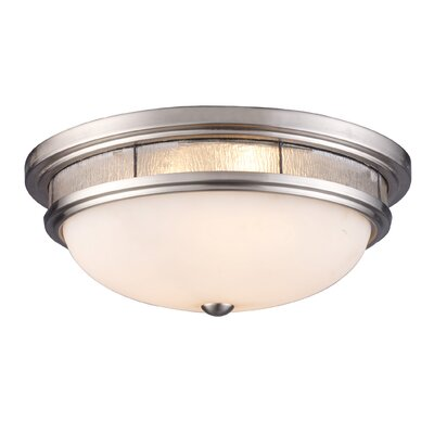 Heim 3-Light Flush Mount Shade Color: Clear Textured Accents
