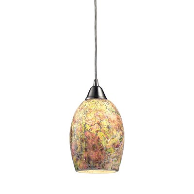 Avalon 1-Light Mini Pendant Shade Color: Hand Painted Crackled Glass - 2