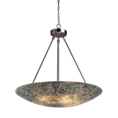 Avalon 5-Light Inverted Pendant Shade Color: Hand Painted Crackled Glass - 2