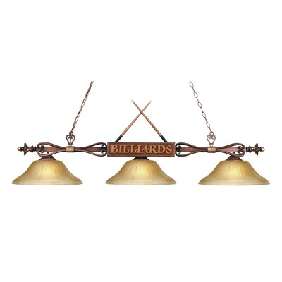 Huguenot 3-Light Billiard Light Finish: Wood Patina with Amber Gratina Glass Shades