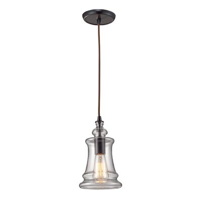 Menlow Park 1-Light Pendant with Clear Blown Glass