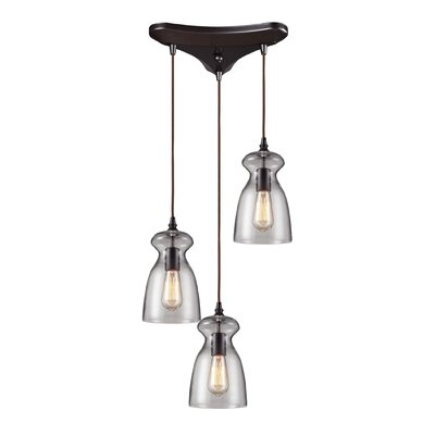 Pettey 3-Light Cascade Pendant with Clear Blown Glass