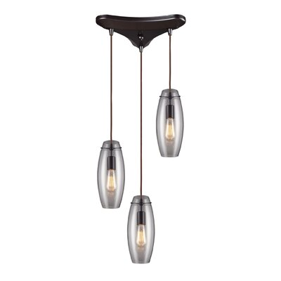 Pettey Elliptical 3-Light Pendant with Clear Glass