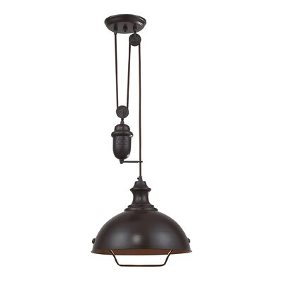 Farmhouse 1 Light Inverted pendant Finish: Oiled Bronze
