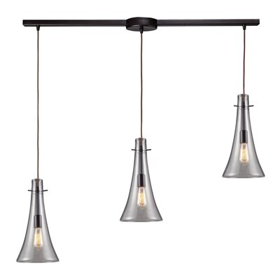Pettey 75W 3-Light Pendant with Clear Blown Glass