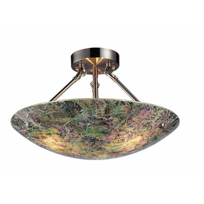 Avalon 3-Light Semi-Flush Mount Shade Color: Pattern 2