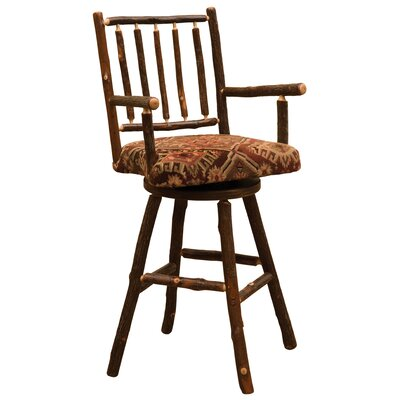 Hickory 30 inch Swivel Bar Stool Upholstery: Black