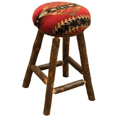 Hickory 24 Bar Stool Upholstery: Dark Red
