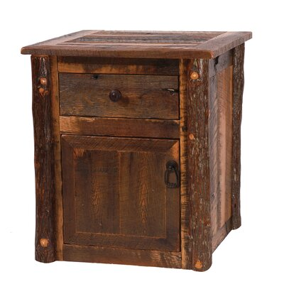 Barnwood End Table With Storage Color: Barnwood