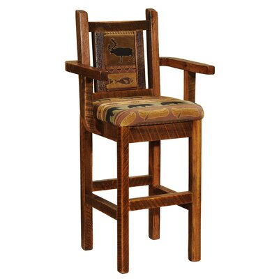 Barnwood 24 Bar Stool Upholstery: Black