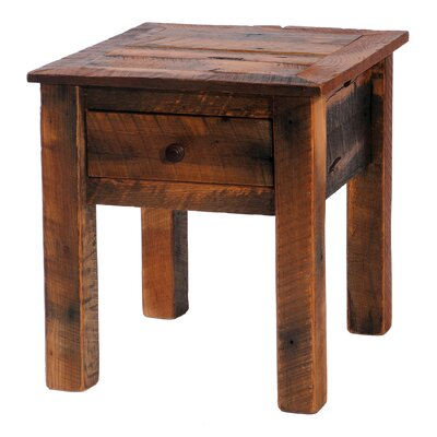 Barnwood End Table With Storage Color: Hickory
