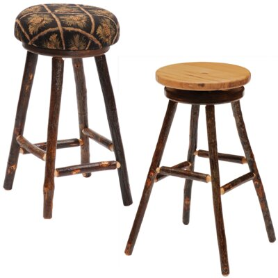 Hickory 24 Swivel Bar Stool Upholstery: Dark Red