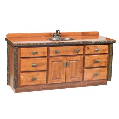 Hickory 77 Bathroom Vanity Base Orientation: Center, Top: Rustic Maple, Base Finish: Rustic Maple