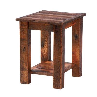 Cheap Fireside Lodge Reclaimed Barnwood End Table Features / Leg Style: One Drawer / Barnwood Trim (FDL1153_3622212)