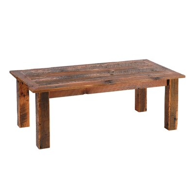 Reclaimed Barnwood Open Coffee Table with Barnwood Trim Size: 20 x 40