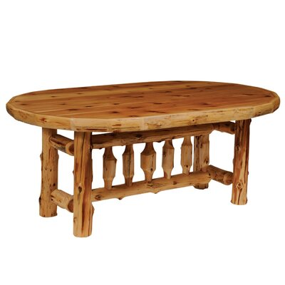 Traditional Cedar Log Oval Dining Table Finish: Liquid Glass, Size: 60 W x 30 H