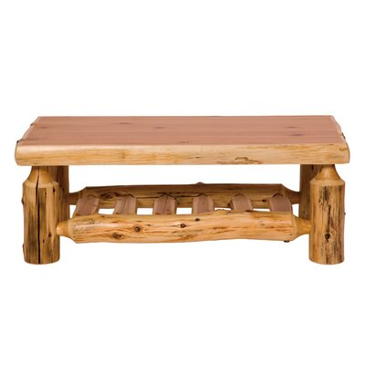 Traditional Cedar Log Coffee Table Finish / Size: Liquid Glass / 24 x 48