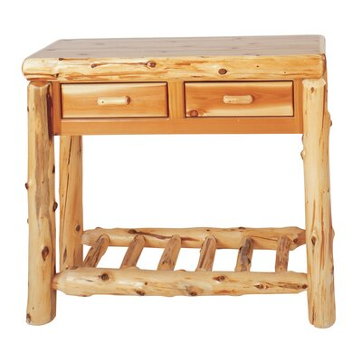 Traditional Cedar Log Two Drawers Console Table