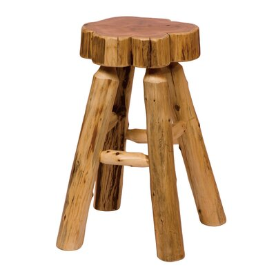 No credit check financing Traditional Cedar Log Slab Barstool...