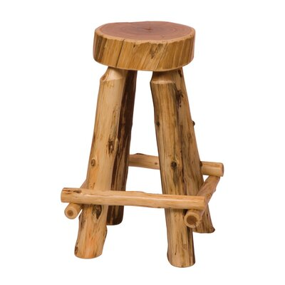 Bad credit financing Traditional Cedar Log Slab Barstool...