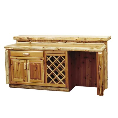 Traditional Cedar Log Bar with Wine Storage Opening: Refrigerator Opening on Right, Configuration: with Sink Cabinet