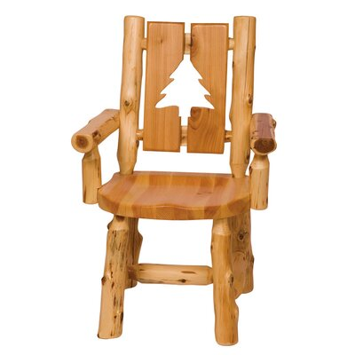 Traditional Cedar Log Cut Out Solid Wood Dining Chair Cut-Out Shape: Pine Tree