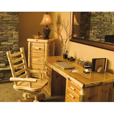 Traditional Cedar Log Executive Writing Desk Chair Set Product Photo