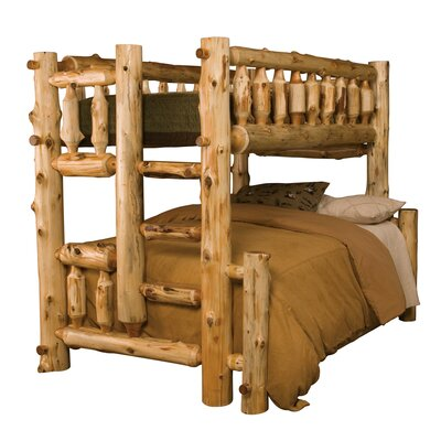 Traditional Cedar Log Bunk Bed Configuration: Queen over Queen, Ladder Side: Right, Finish: Vintage Finish