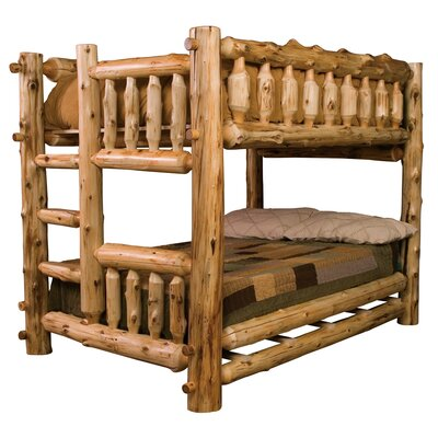 Traditional Cedar Log Bunk Bed Size: Full over Full, Ladder Side: Left, Color: Traditional