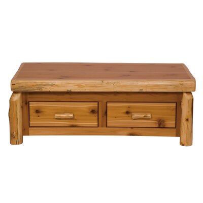 Traditional Cedar Log Coffee Table with Elevating Top Finish: Standard