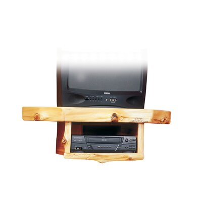 Traditional Cedar Log Shelf Fixed Corner Mount for up to 32 CRT TV Configuration: Standard Shelf with VCR/DVD Shelf