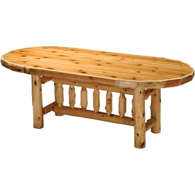 Traditional Cedar Log Oval Dining Table Finish: Standard, Size: 84 W x 30 H
