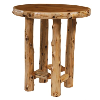 Traditional Cedar Log Dining Table Finish / Size: Liquid Glass / 40