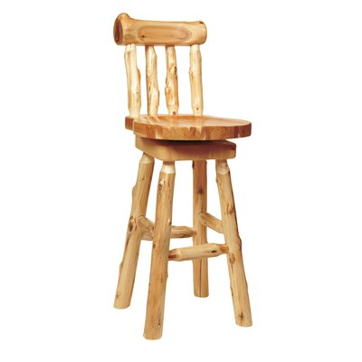 Traditional Cedar Log 30 Swivel Bar Stool
