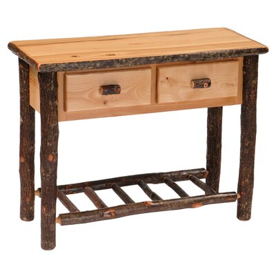 Hickory Two Drawer Console Table Finish: Rustic Maple